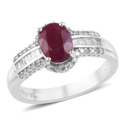 Premium Burmese Ruby and Diamond Ring.  Size 10.  2.90 CTW