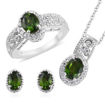 4.65 ctw Russian Diopside and Zircon Earrings, Ring Size 10 and Necklace