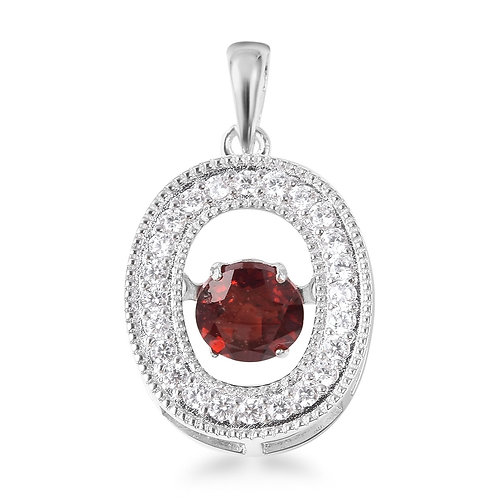 1.31 ctw Mozambique Garnet Dancing Drop Pendant in Sterling Silver