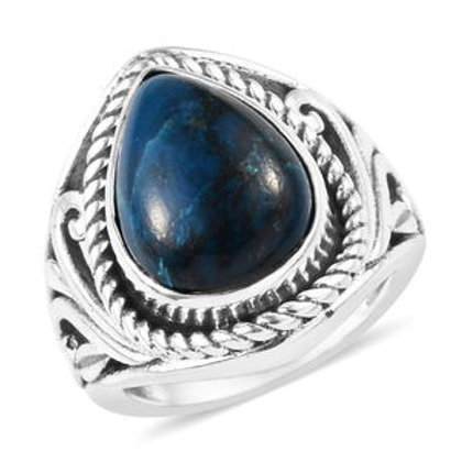 Artisan Crafted 5.89 CTW Shattuckite Ring (10) in Sterling Silver
