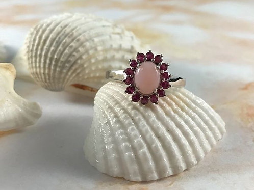 Peruvian Pink Opal, Ruby (ff) Ring.  Size 9, 1.75 CTW