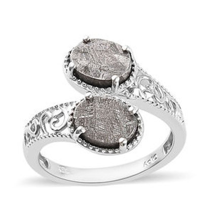 Meteorite Bypass Ring in Platinum Over Sterling Silver (Size 7.0)