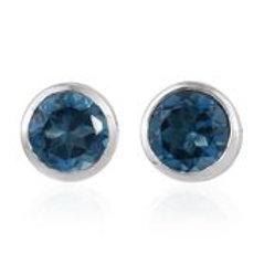 1.00 CTW London Blue Topaz Stud Earrings in Sterling Silver