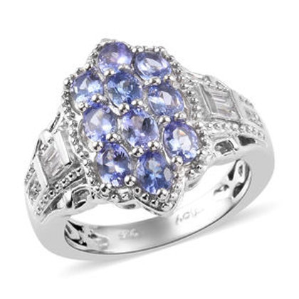 AA Tanzanite and Zircon Ring in Platinum Over Sterling Silver 1.83 CTW