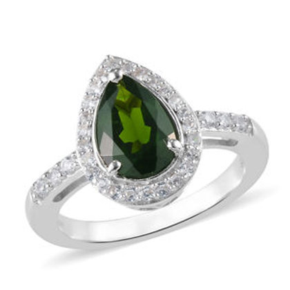 AA Russian Diopside, Natural White Zircon Halo Ring (10).  1.70 CTW