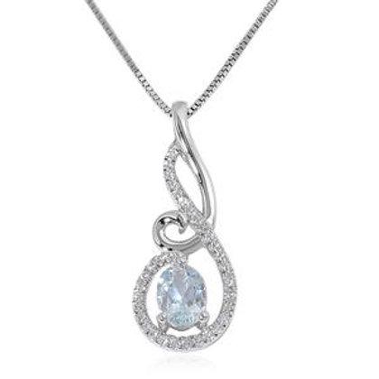 1.49 CTW Aquamarine and White Topaz Pendant Necklace 18 Inch