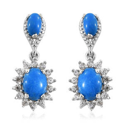 Ceruleite, Zircon Floral Earrings.  2.16 CTW