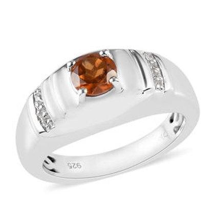 Hessonite Garnet and Zircon Ring