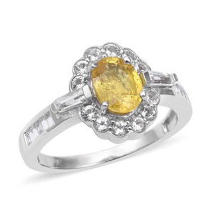 Yellow Sapphire Ring with White Topaz (Size 10.0) 2.57 CTW