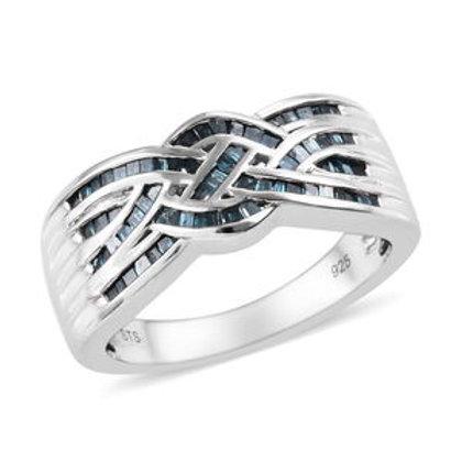Blue Diamond (IR) Ring.  Size 5.  CTW 0.50