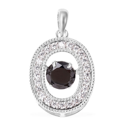 1.31 ctw Natural Thai Black Spinel Pendant in Sterling Sil