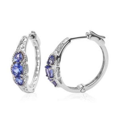AAA Tanzanite Hoop Earrings in Platinum Over Sterling Silver 1.45 ctw