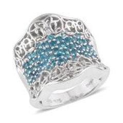 7.14 ctw Malgache Neon Apatite Ring in Sterling Silver (Sizes 6,9)