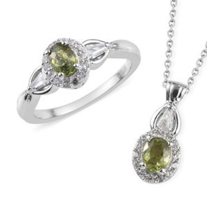 1.50 ctw Demantoid Garnet and Zircon Ring Size 6 and Pendant Necklace 20 Inch