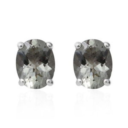 Green Amethyst Oval Stud Earrings in Platinum Over Sterling Silver 4.80 CTW