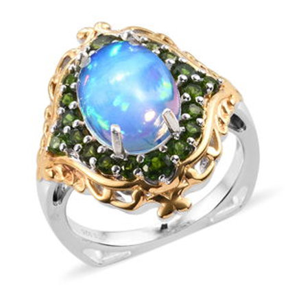 Welo Opal and Russian Diopside Ring.  Size 7.  4.85 CTW