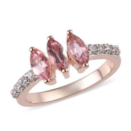 1 ctw Pink Tourmaline and Zircon Ring Size 8