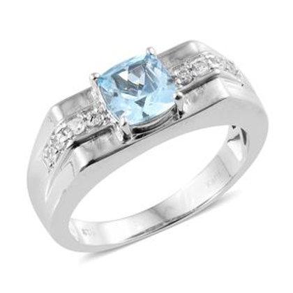 Sky Blue Topaz Men's Ring (Size 12.0).  2.87 CTW