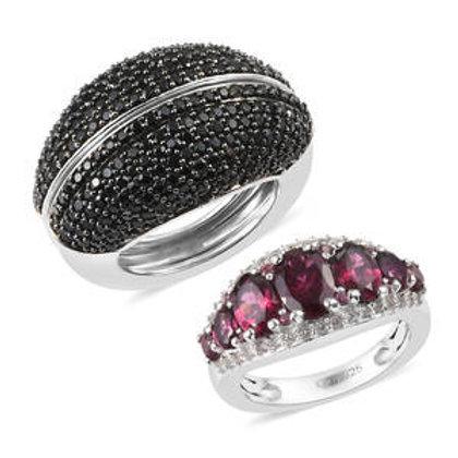 5.86 CTW Orissa Rhodolite Garnet and Multi Gemstone Openable Ring