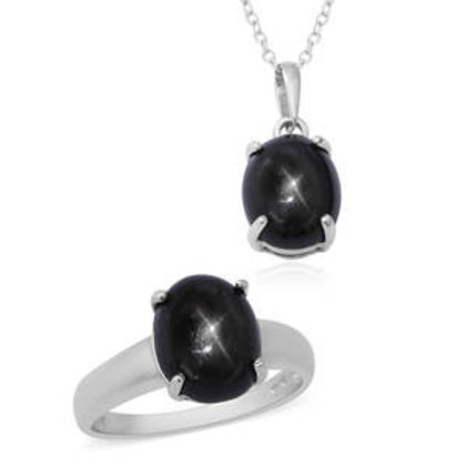 9.58 ctw Indian Black Star Diopside Ring Size 8 and Pendant Necklace 18 Inch