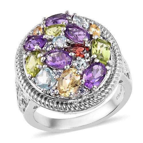 Multi Gemstone Cocktail Cluster Ring.  Size 8.  5.80 CTW