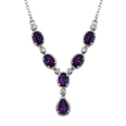 2.90 ctw Lusaka Amethyst and Natural White Zircon Necklace 18 Inch
