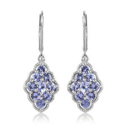 Tanzanite Lever Back Earrings in Platinum Over Sterling Silver.  2.61 CTW