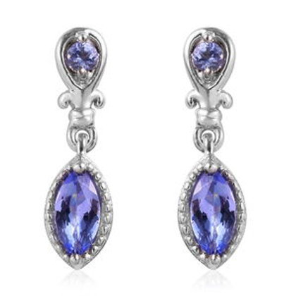 0.85 ctw Tanzanite Earrings in Platinum Over Sterling Silver