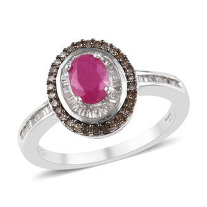 1.70 ctw Mozambique Ruby and Natural Champagne and White Diamond Ring
