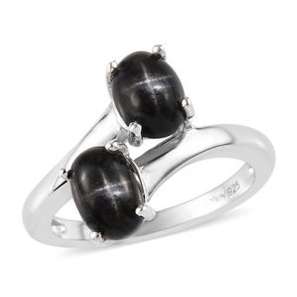 2.10 ctw Indian Black Star Diopside Bypass Ring Size 6