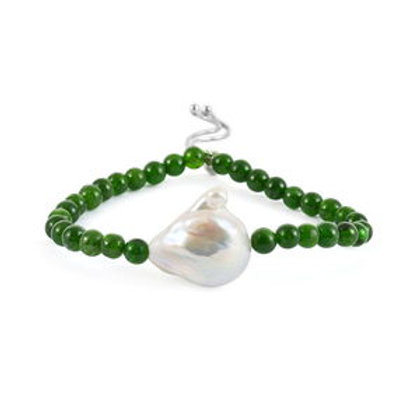 Organic Shape Baroque Pearl, Russian Diopside Bolo Bracelet.  90 CTW