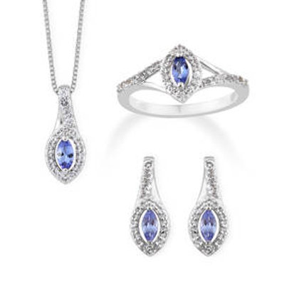 Tanzanite and White Topaz Earrings and Ring Size 7 and Pendant Necklace 2.38 CTW