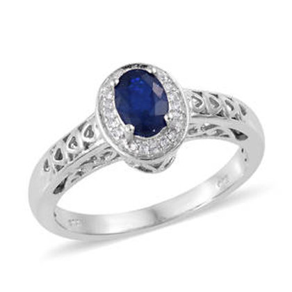 Diffused Blue Spinel and Zircon Halo Ring (Size 6) 0.96 CTW