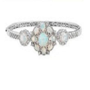 Welo Opal and Zircon Bangle Bracelet.  8.79 CTW