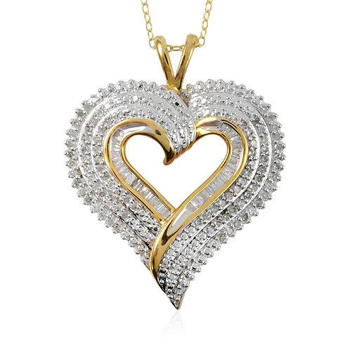 Diamond Heart Pendant Necklace.  1.35 CTW