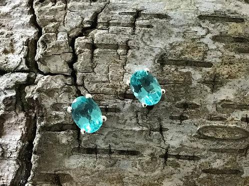 Madagascar Paraiba Apatite Stud Earrings.  1.85 CTW
