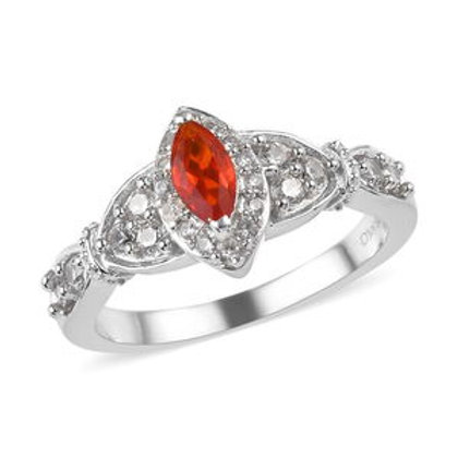0.55 CTW Crimson Fire Opal and Zircon (Size 7)