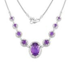 African Amethyst, White Topaz Sterling Silver Necklace (18 in) 10.34 ctw
