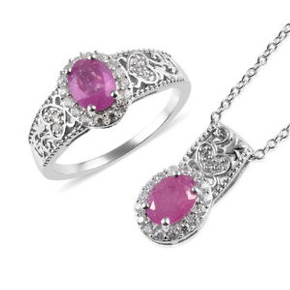 Ilakaka Hot Pink Sapphire, and Zircon Ring (6) and Pendant Necklace.  4.35 CTW