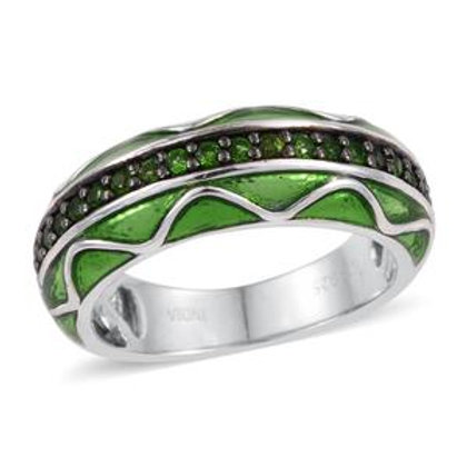 1.02 CTW Russian Diopside and Enameled Ring Size 6