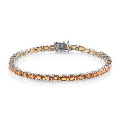 Orange Sapphire Tennis Bracelet.  9.76 CTW.