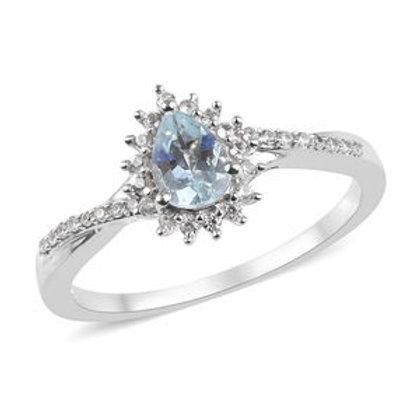 Aquamarine, Natural White Zircon Ring Size 6. 0.85 CTW