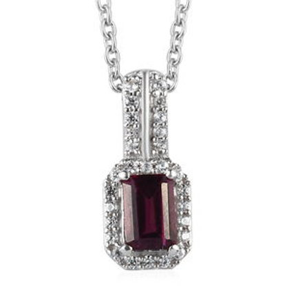 Tanzanian Wine Garnet and Zircon Pendant Necklace 20 Inch.  1.02 CTW