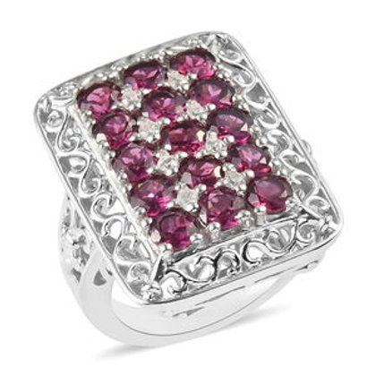 Rhodolite Garnet and Zircon Ring Sizes 8, 10.  3.51 CTW