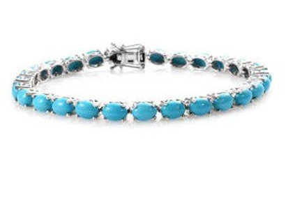 Arizona Sleeping Beauty Turquoise in Platinum Over Sterling Silver.  19.15 CTW