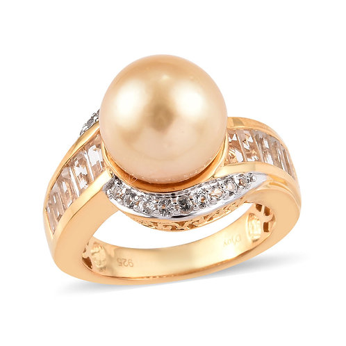 South Sea Golden Cultured Pearl 10.5-11.5 mm, White Topaz Ring