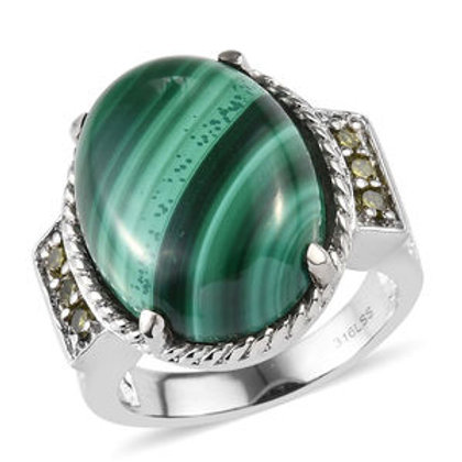 16.75 CTW African Malachite Ring in Stainless Steel