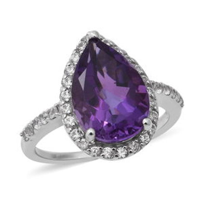 6.10 ctw Lusaka Amethyst and White Zircon Ring