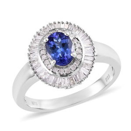 1.50 ctw AAA Tanzanite and Diamond Double Halo Ring