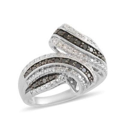Black Diamond (IR), Diamond Ring in Sterling Silver (Size 6) 0.35 CTW